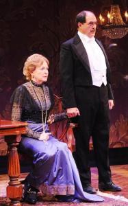 DEBORAH HAZLETT (Sybil Birling) and BRUCE RANDOLPH NELSON (Arthur Birling)